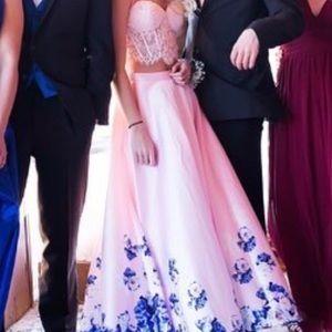 MAKE OFFER Pink & Royal Blue prom dress